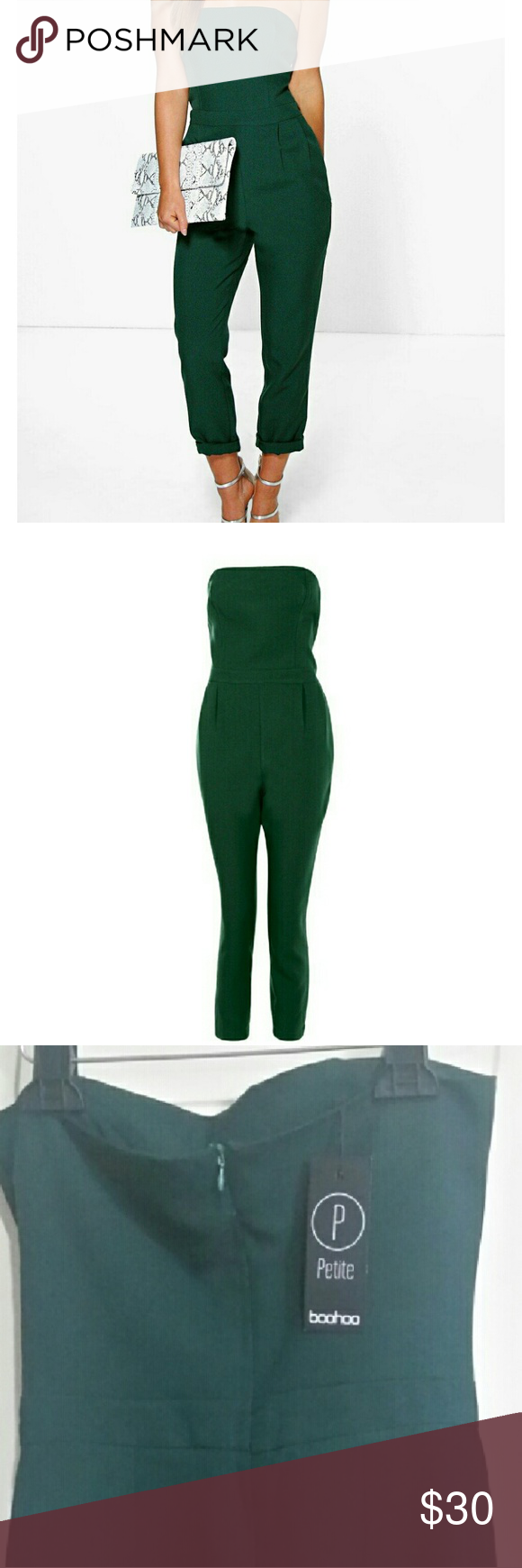 Bandeau Tailored Jumpsuit Brand new with tag. I'm 5'0 and the hits perfectly st my ankles. True to size. Pockets on the side. Boohoo Petite Pants Jumpsuits & Rompers