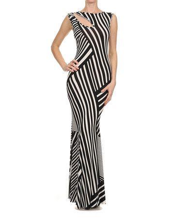 Love black and white stripe cut out maxi dress
