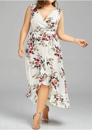Floral Wrap Asymmetric Casual Dress