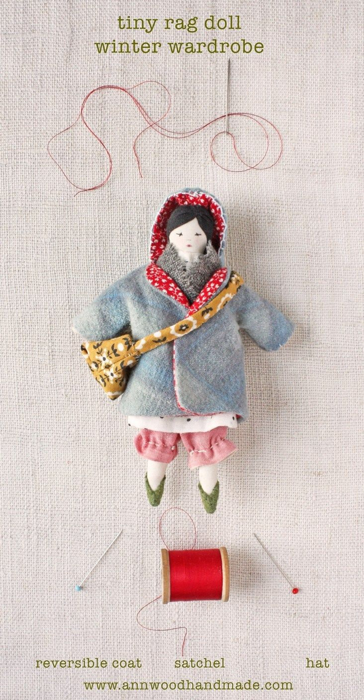 Tiny doll coat, bag and hat : pdf pattern #instructionstodollpatterns