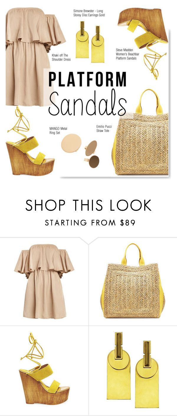 """""""Stand Up! Platform Sandals"""" by serepunky ❤ liked on Polyvore featuring Emilio Pucci, Steve Madden, MANGO, summerfashion and platformsandals"""