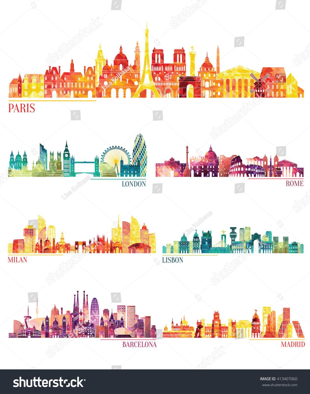 Skyline detailed silhouette set Paris London Rome Milan Lisbon