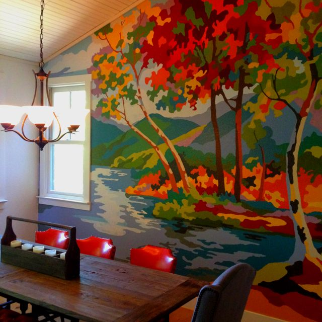 Autumn Tree Painting On Wall So Cool Pbn Mural Progress Wall Painting Mural Painting Mural