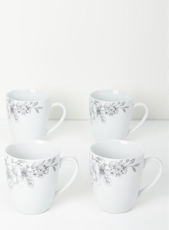 White Botanical Garden Mugs Set of 4