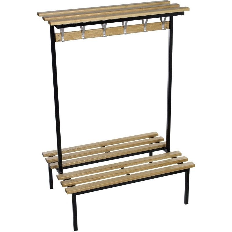 Double Sided Cloakroom Bench From The Evolve Range Includes A Wooden Top Shelf Wooden Storage Shelves Shelves Bench Designs