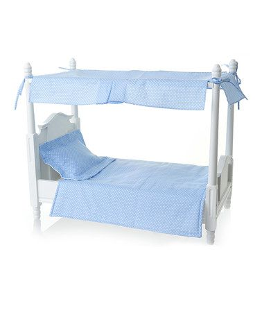Love this Blue Canopy Doll Bed on #zulily! #zulilyfinds