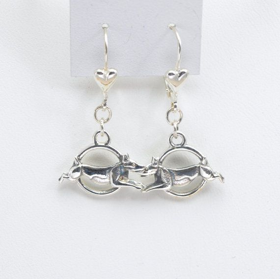 Sterling Silver Rat Terrier  Earrings by Donna Pizarro from her Animal Whimsey Collection of Dog Jewelry and Rat Terrier Jewelry