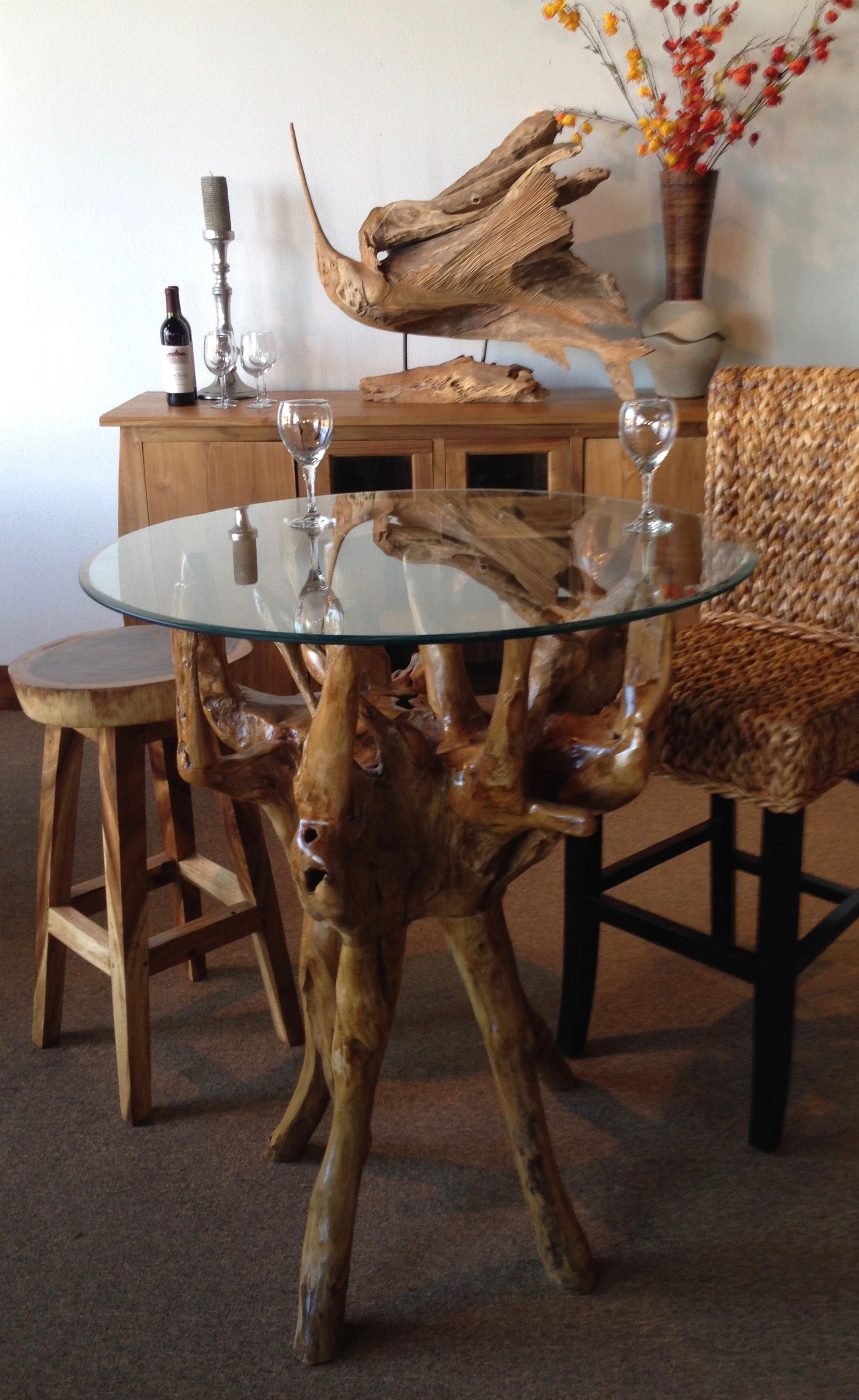 Teak Wood Root Bar Table Including 36 Inch Round Glass Top By Chic