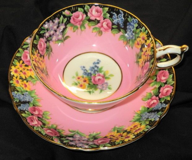 PARAGON PINK ROSE GARDEN BORDER BLACK TEA CUP AND SAUCER