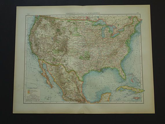 Usa old map large 1899 original antique poster by vintageoldmaps usa old map large 1899 original antique poster by vintageoldmaps gumiabroncs