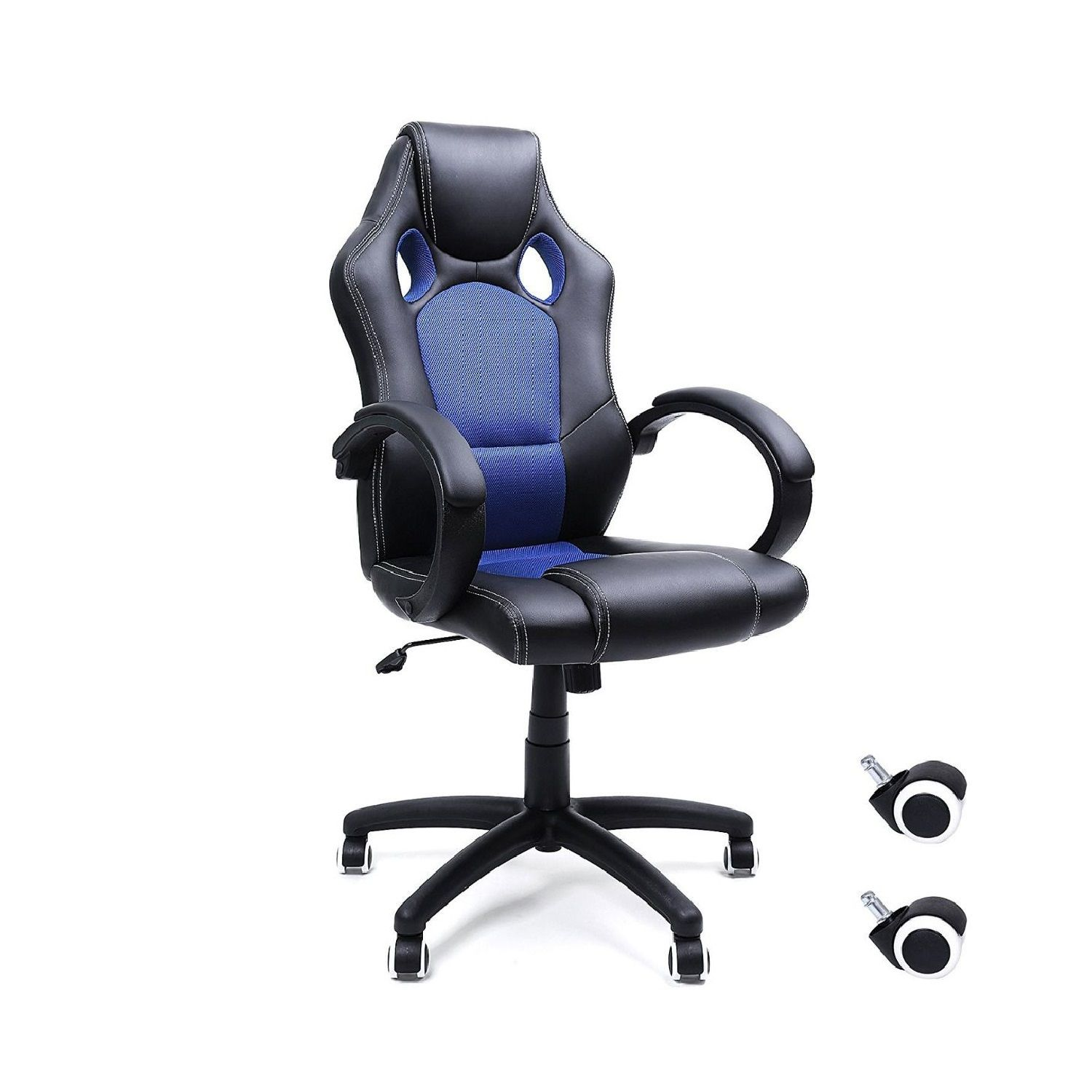 """31.50"""" Black and Blue High Back Gaming Style Swivel Chair"""