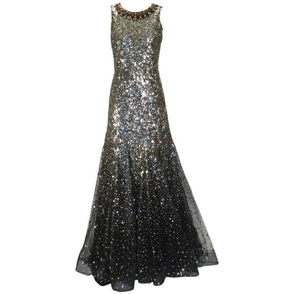 Preowned Stunning Oscar De La Renta Sequined Constellation Evening ...