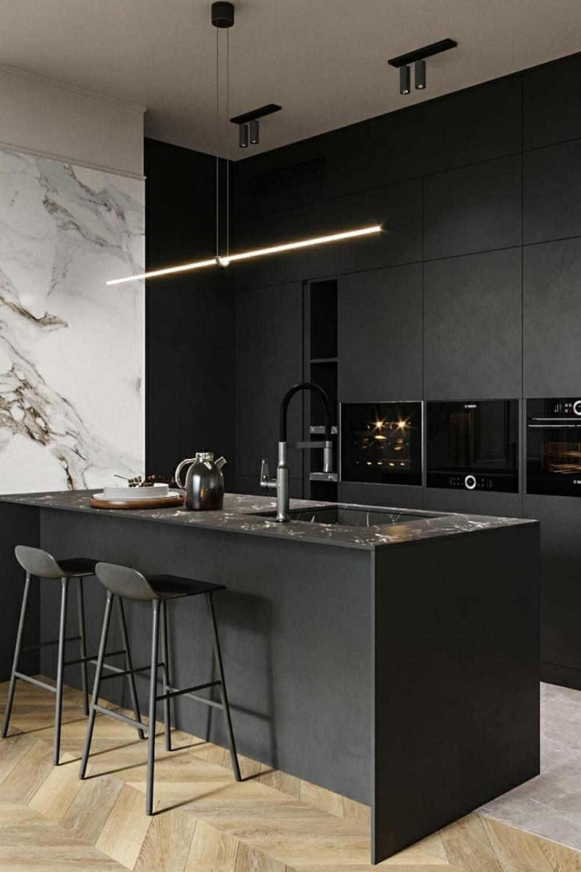 Cuisine Ouverte Moderne Noire En 2020 Design De Cuisine Moderne Interieur De Cuisine Cuisine Moderne