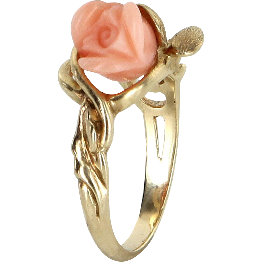 Carved Coral Rose Flower Cocktail Ring Vintage 14 Karat Yellow Gold