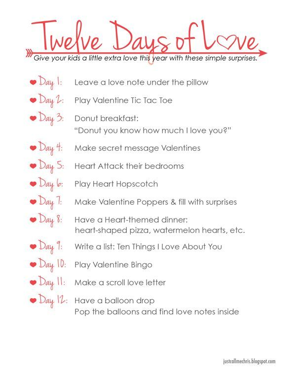 Kids ValentineS Day Activity Twelve Days Of Love  Holidays