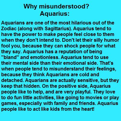 Misunderstood Aquarius Not bland,can be emotional,and a kid