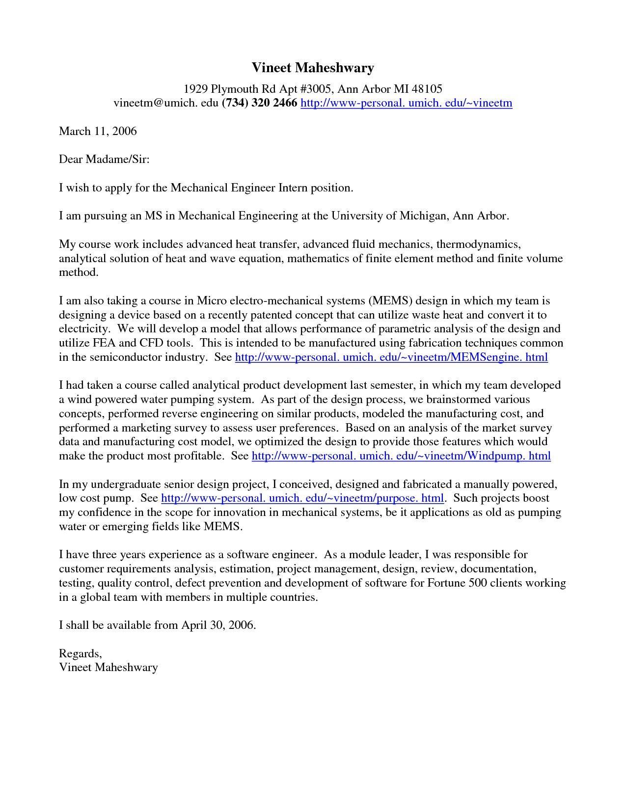 30 Sample Cover Letter For Internship Cover Letter For
