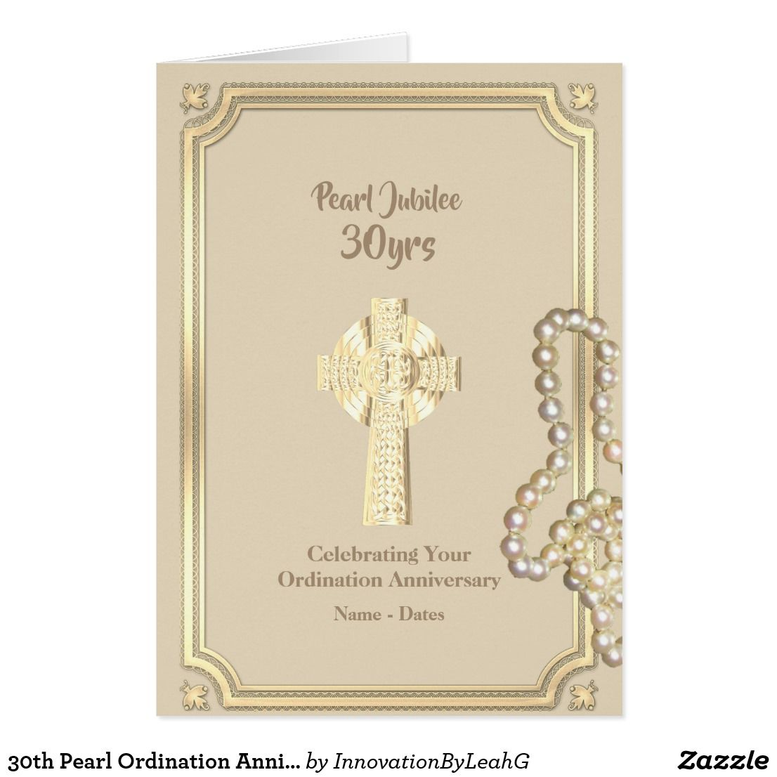 30th Pearl Ordination Anniversary Priest Clergy Card Anniversary