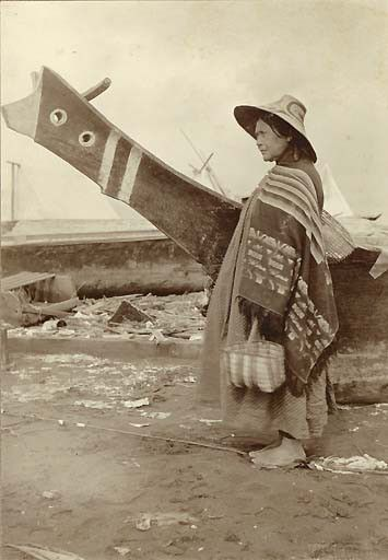 Indian woman and canoe at the Seattle waterfront, 1898, UW Library American Indians of the Pacific Northwest Collection