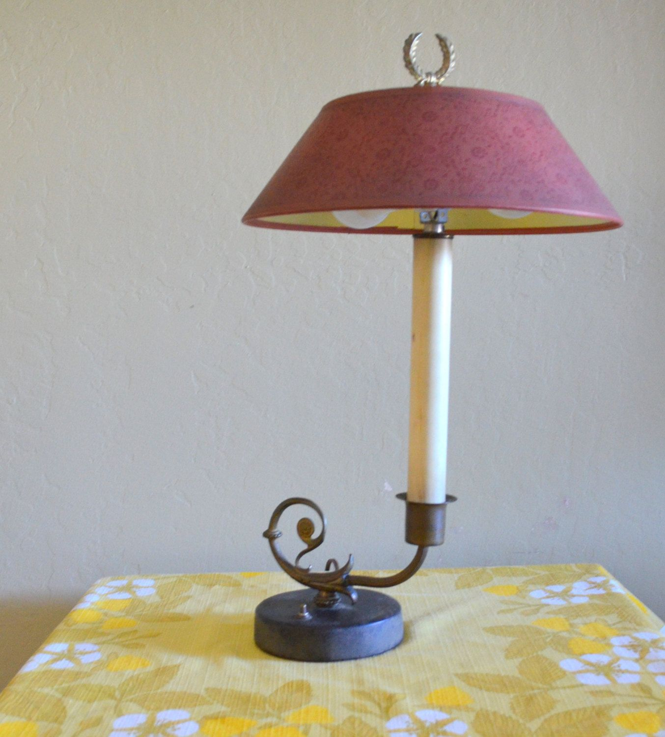 Vintage Candlestick Table Lamp With Laurel Wreath Finial Leather