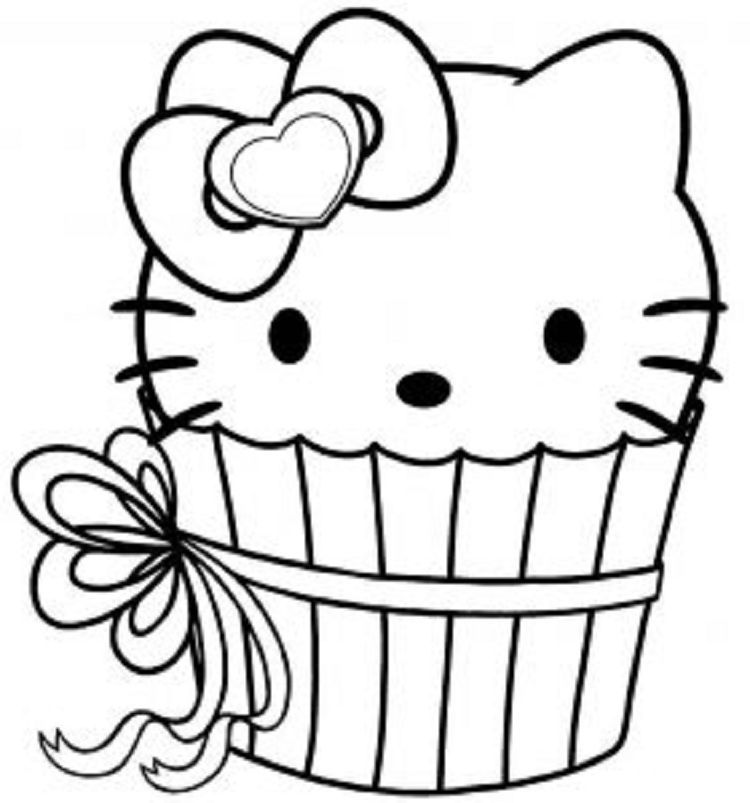 Hello Kitty Cupcake Coloring Pages | Cupcake coloring ...