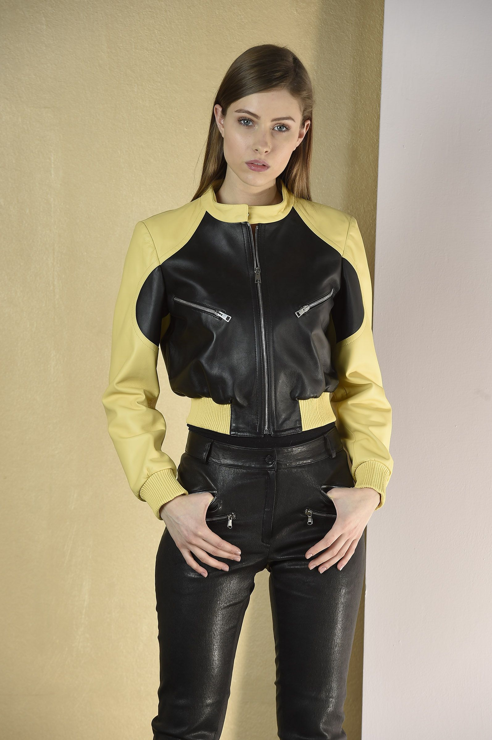 Black And Yellow Leather Jacket With Leather Pants Leather Jackets Women Leather Jacket Style Leather Outfit [ 2395 x 1594 Pixel ]