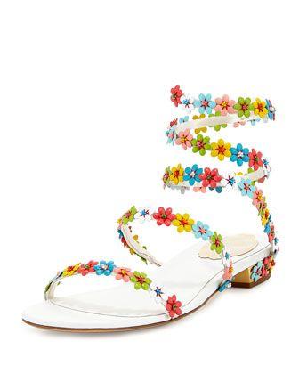 f8d7c5fd0f871a Love these shoes by RENÉ CAOVILLA Rene Caovilla Floral-Embellished Coil  Sandal -  1250