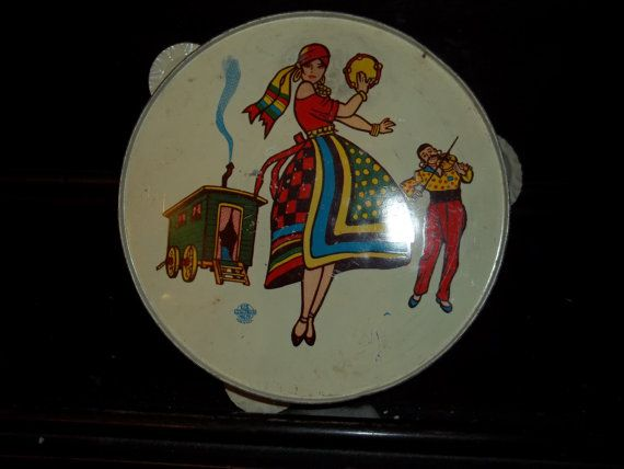 Vintage Childrens toy Metal Gypsy Tambourine by kevinforst on Etsy, $19.99