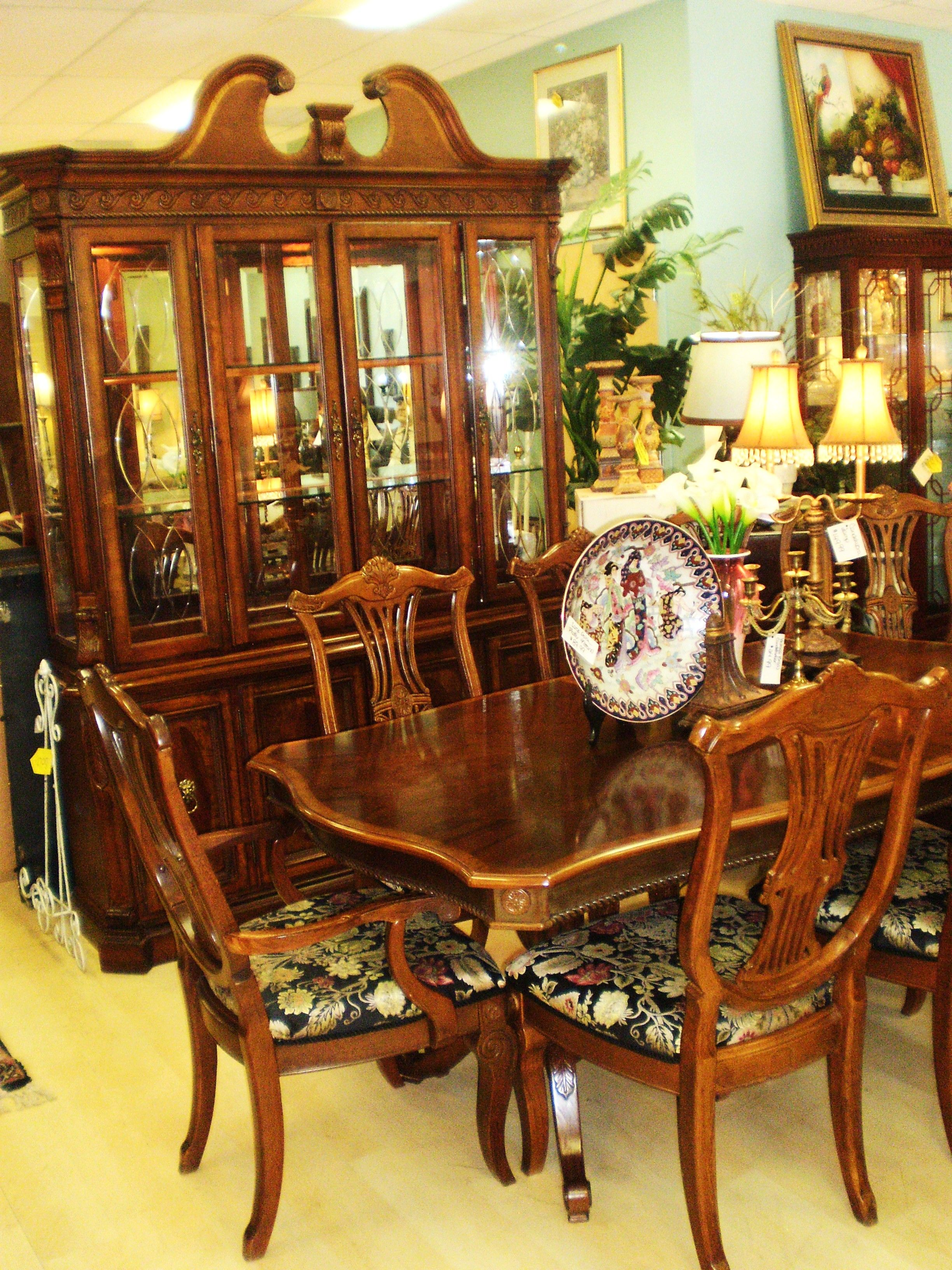 Beau Chippendale Dining Room Table, 2 Leaves, 8 Chairs And China Cabinet By  Universal.
