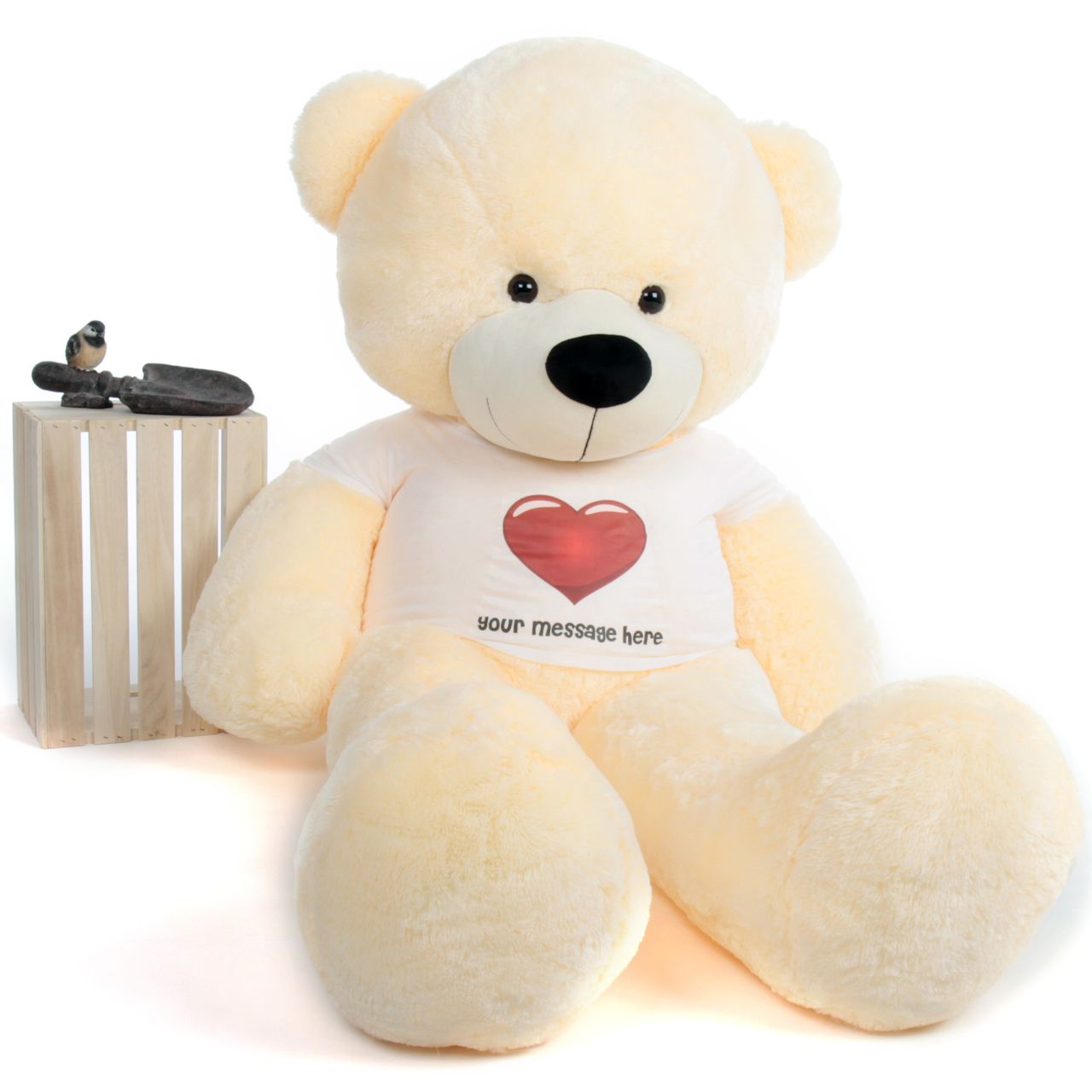 68dfdf0f4a0 Giant Teddy - 6ft life size Personalized Big Teddy Bear Vanilla Cream Red  Heart Shirt