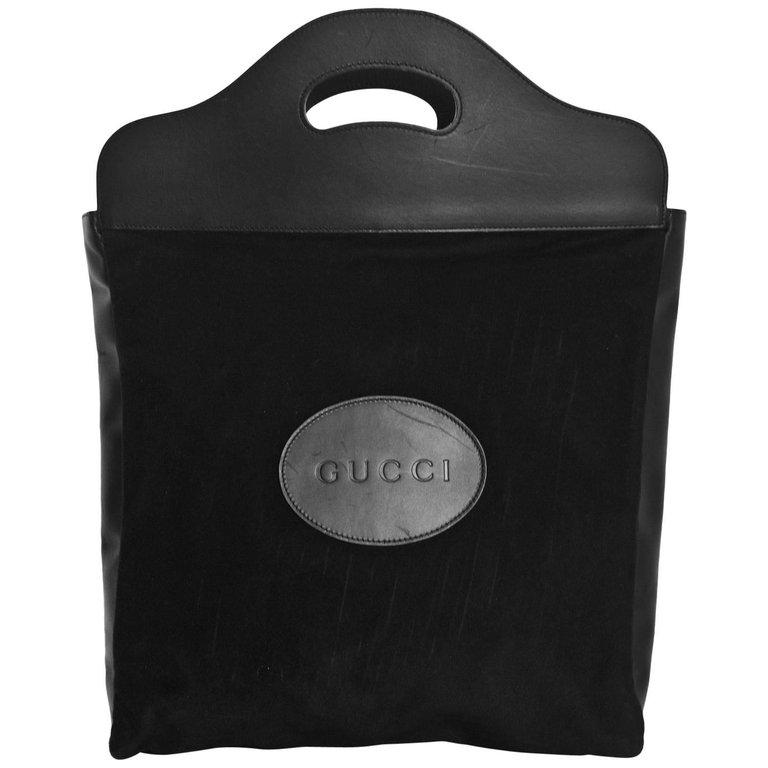 c2122caa3d98 Gucci Vintage Black Felt & Leather Tote Bag | BAGS | Vintage gucci ...