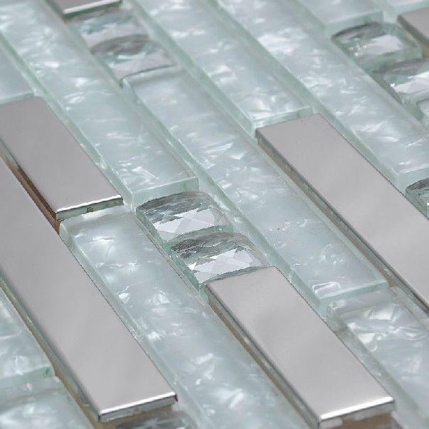 silver metallic mosaic tile glass mosaic tile kitchen backsplash rh pinterest com