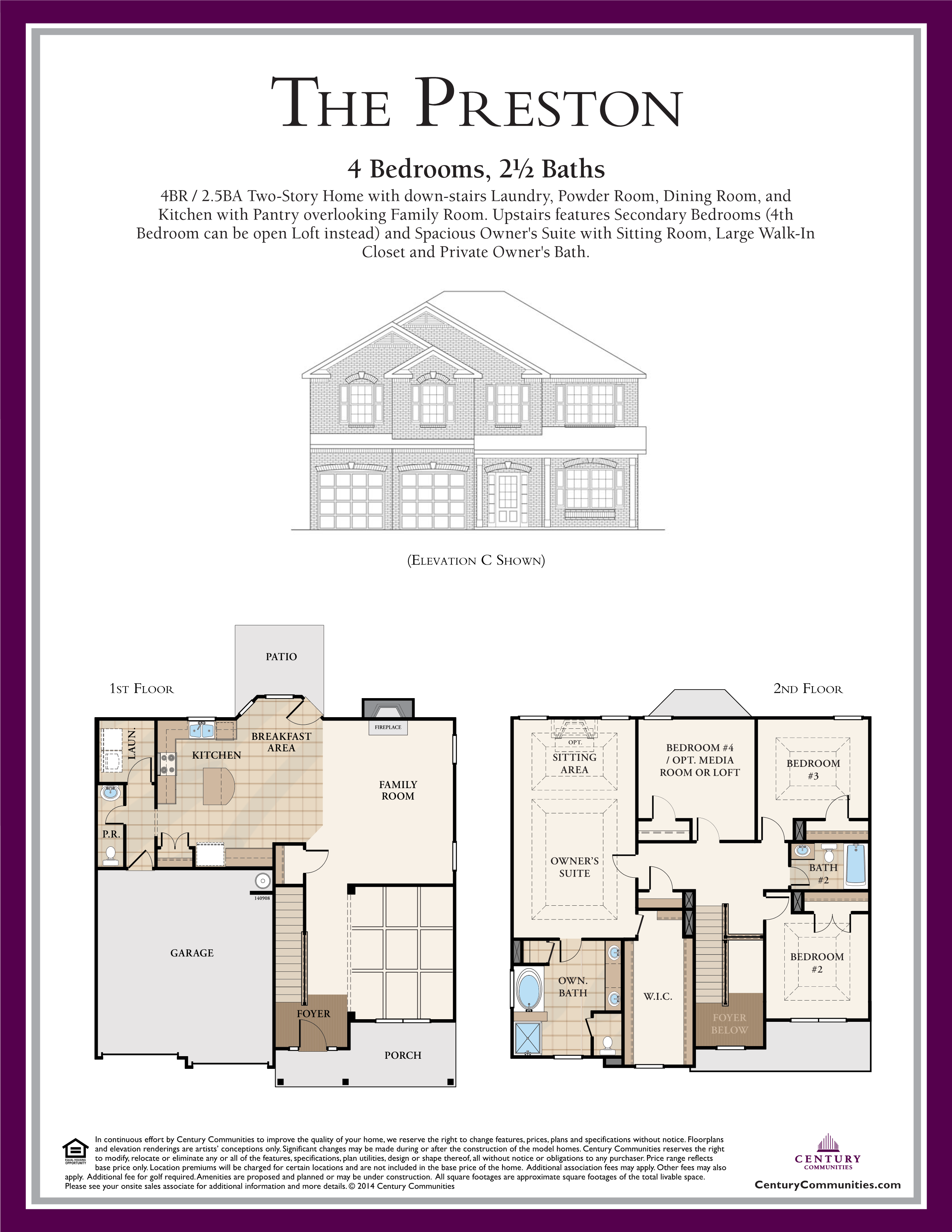 The Preston floor plan is a 4BR 2 5BA Two Story Home with down stairs Laundry Powder Room Dining Room and Kitchen with Pantry overlooking Family Room