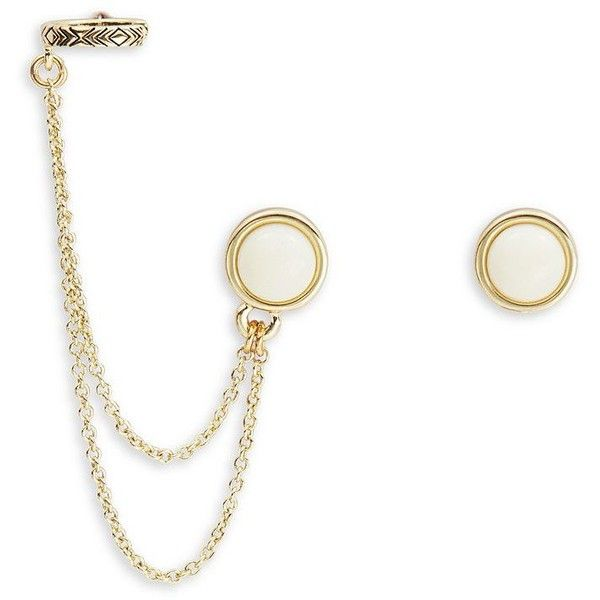 House Of Harlow 1960 Cabochon Stone and Chain Accented Earrings ($45) ❤ liked on Polyvore featuring jewelry, earrings, white, chain earrings, white earrings, stone jewellery, chain ear cuff and house of harlow 1960 jewelry
