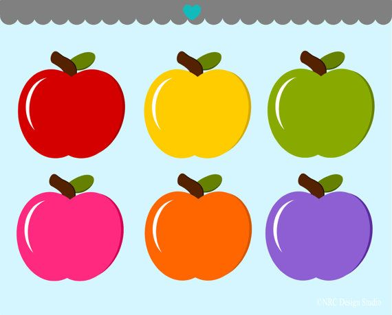 Colorful Apples Clip Art Graphics - Digital Clipart Commercial Use