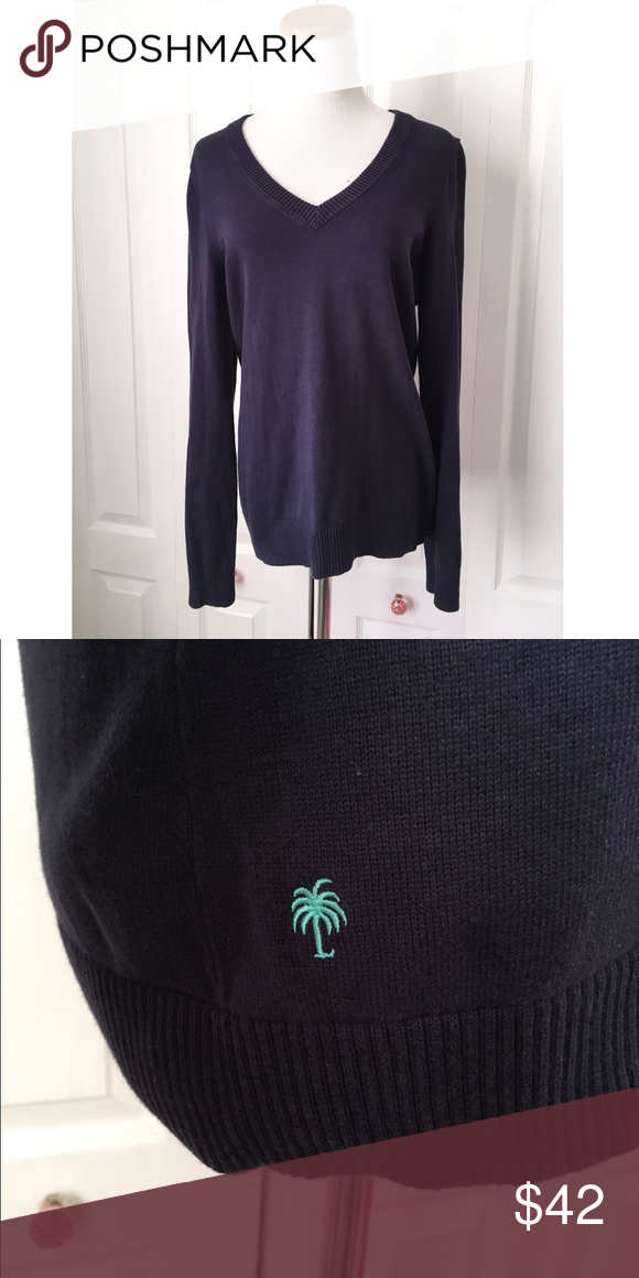 Lilly Pulitzer Navy Blue V-neck Pullover Sweater Navy blue. Excellent condition. 100% cotton. Lilly Pulitzer Sweaters V-Necks