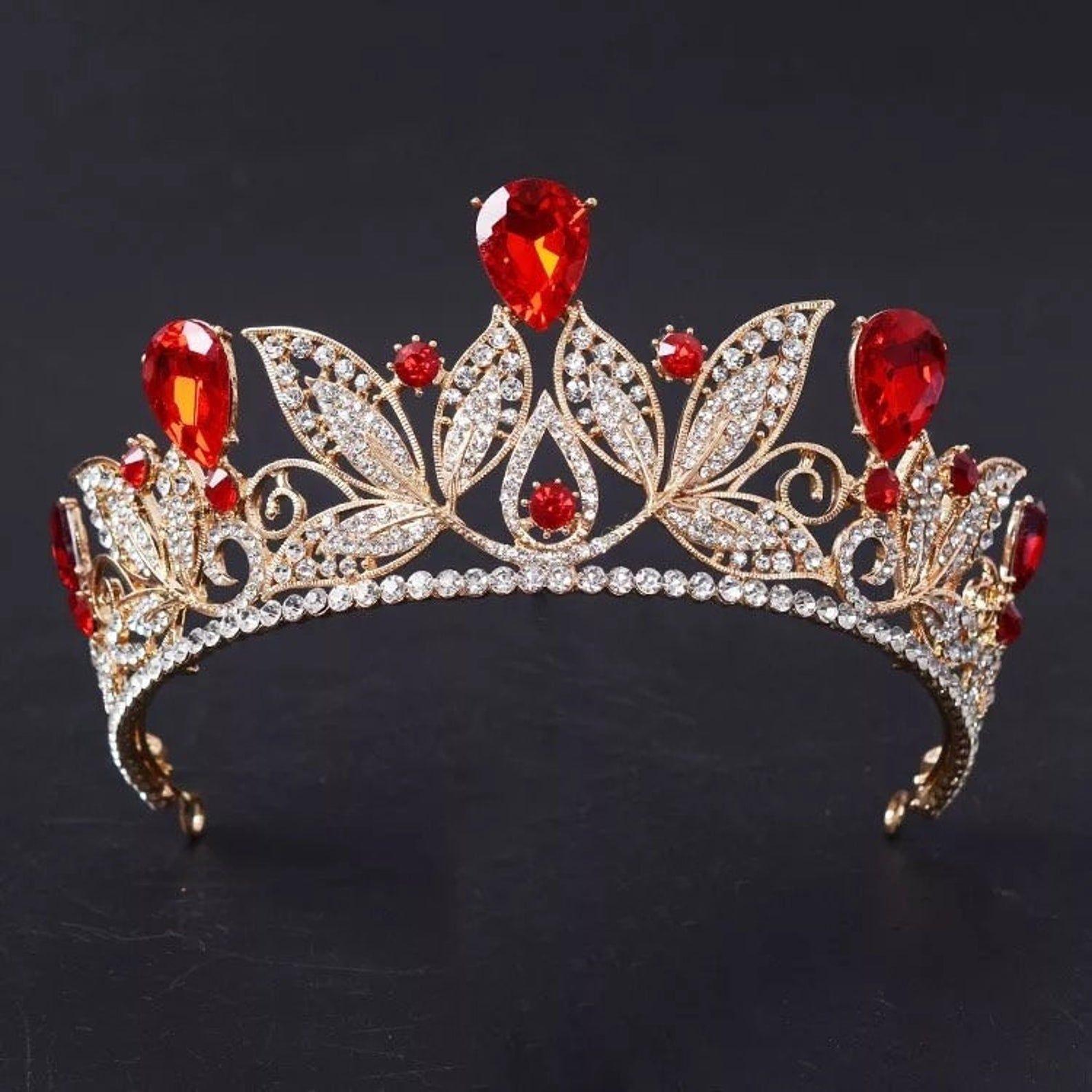 Vintage Red Crystal Bridal Tiara Fashion Gold Rhinestone Diadem for Women Wedding Dress Hair Jewelry Princess Crown Accessories,weddings