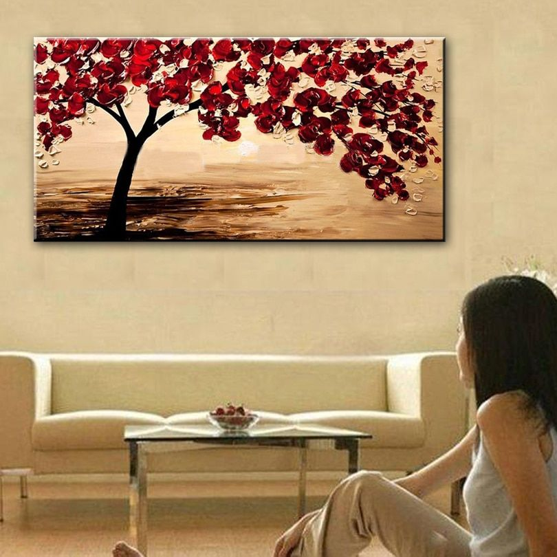 New Handmade Modern Canvas On Oil Painting Palette Knife Tree 3d Flowers Paintings Home Living Room Decor Wall Art 168029 Canvasprintworld Com Canvas Prints Modern Wall Art Canvas Online Wall