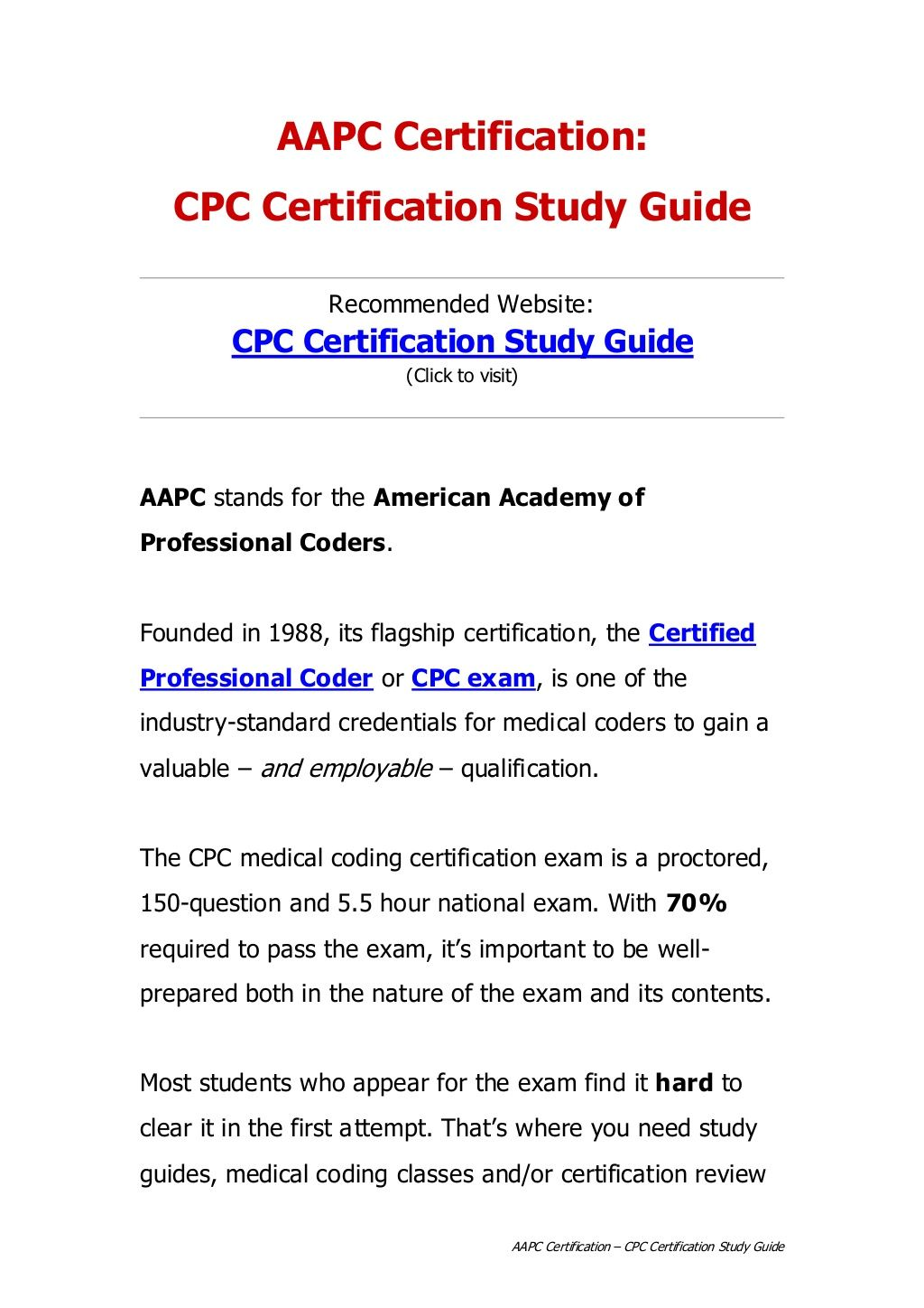 aapc-certification-cpc-certification-study-guide by Ronnie Newton via  Slideshare