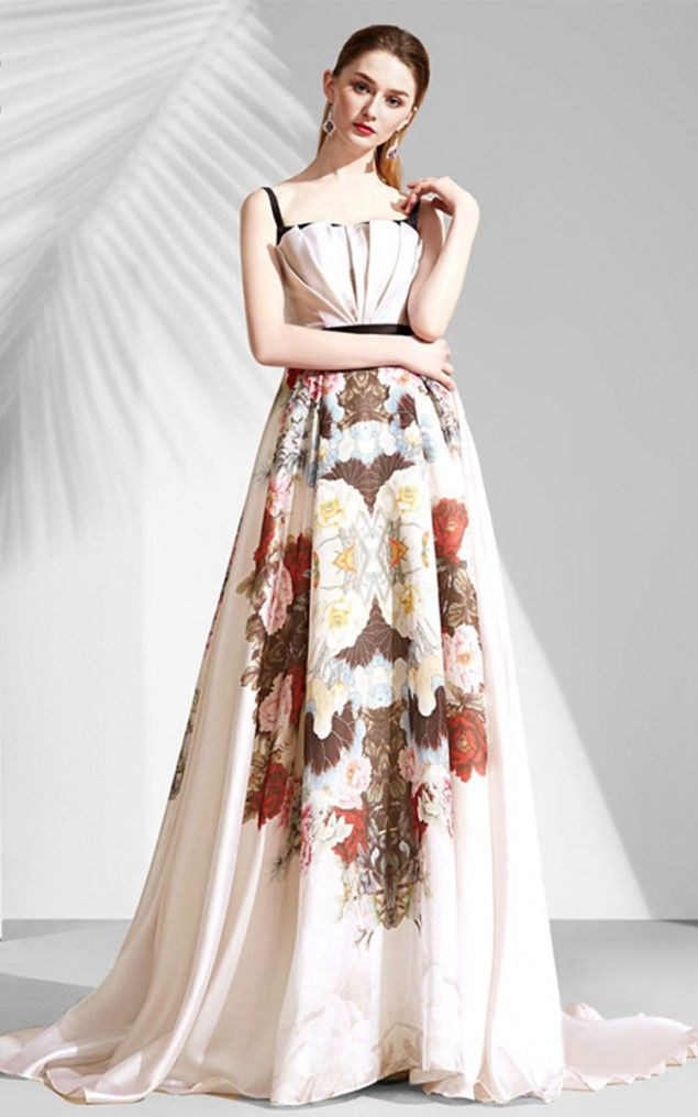 Shop For Cream Printed A Line Evening Dress 20171212 New