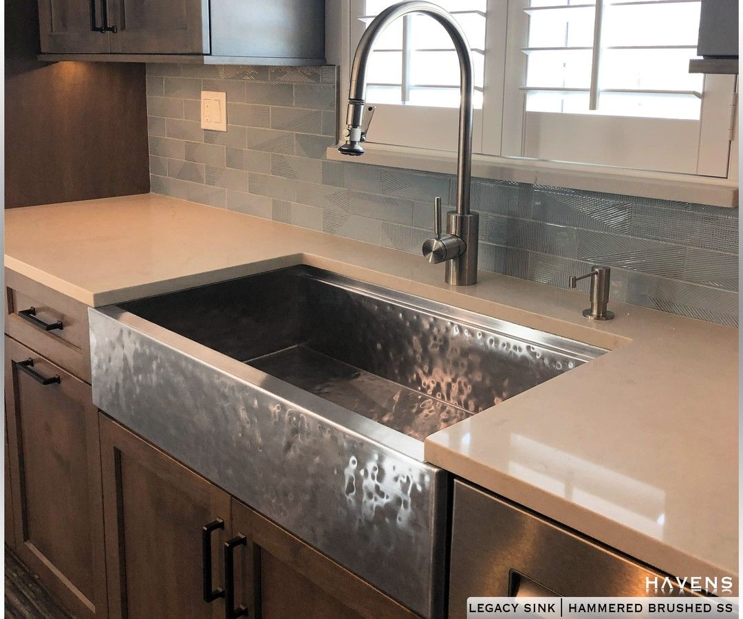 Legacy Sink Hammered Brushed Stainless Steel Havensm Stainless Steel Farmhouse Sink Stainless Steel Farmhouse Kitchen Sinks Copper Kitchen Sink Farmhouse