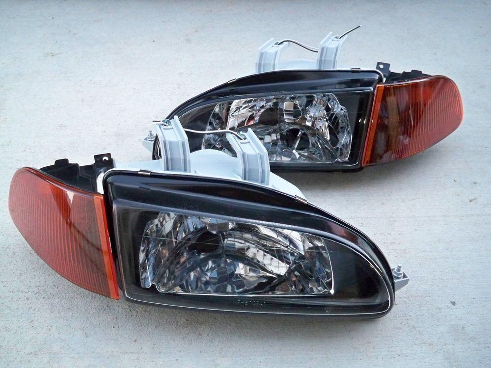 Honda Civic EG EJ JDM Black Headlights + Smoked Amber Corners + SiR City  Light