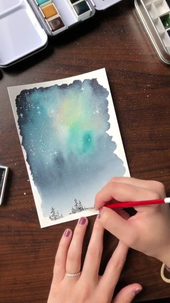 Watercolor beginner galaxy