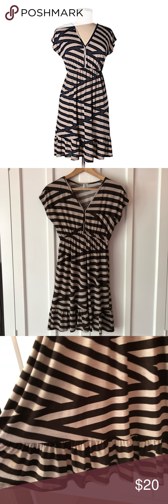 Moonlight Striped Vneck Ruffle Hem Dress This dress is so cute and in like new condition! Has some s...