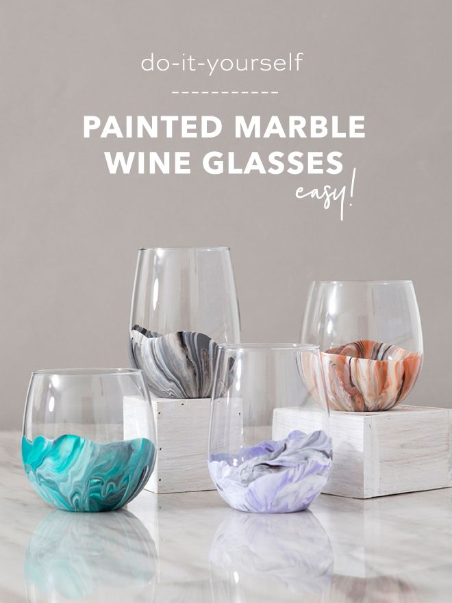 You HAVE To See How Easy These Marble Wine Glasses Are To Paint! #craftstomakeandsell