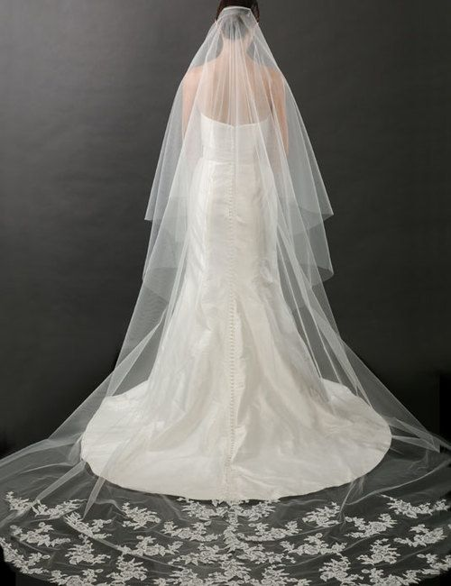 dea8ae83d9 Rush Available & Free Shipping Options | Regal Bel Aire Bridal Veils V7262C  - 2-tier foldover lace veil - Cathedral