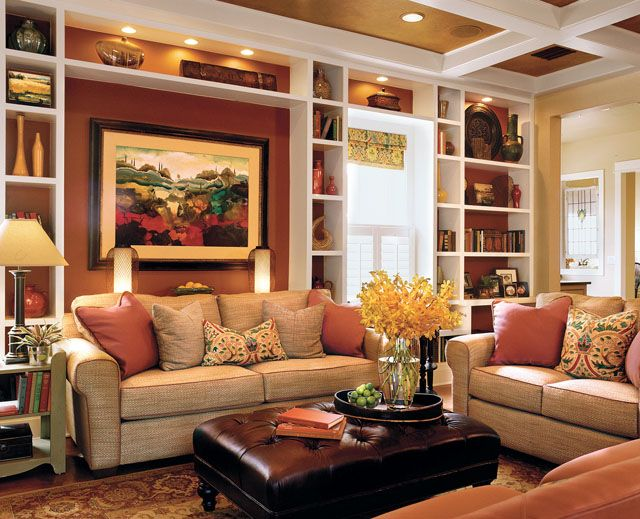 Built ins beamed ceiling rich colors comfortable for Rich colors for living room