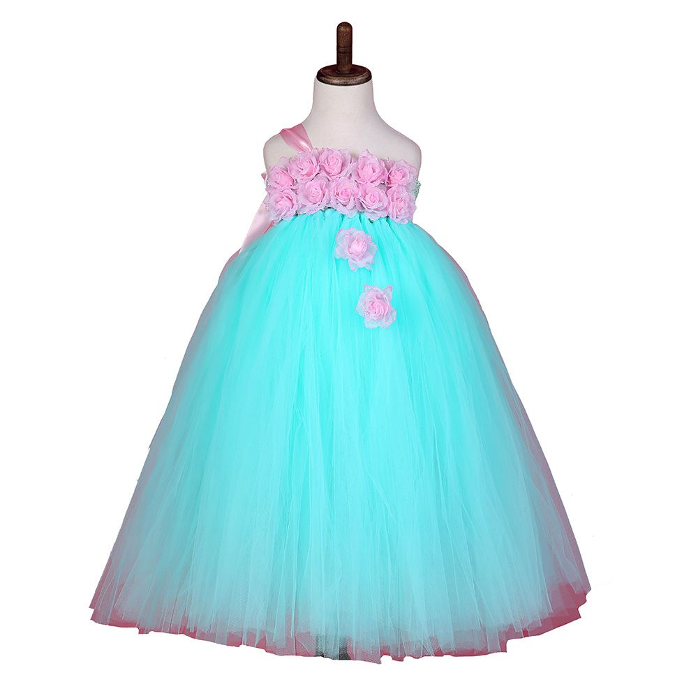 Baby Girl Party Tutu Dress Mint Green with Pink Rose Girl Flower ...