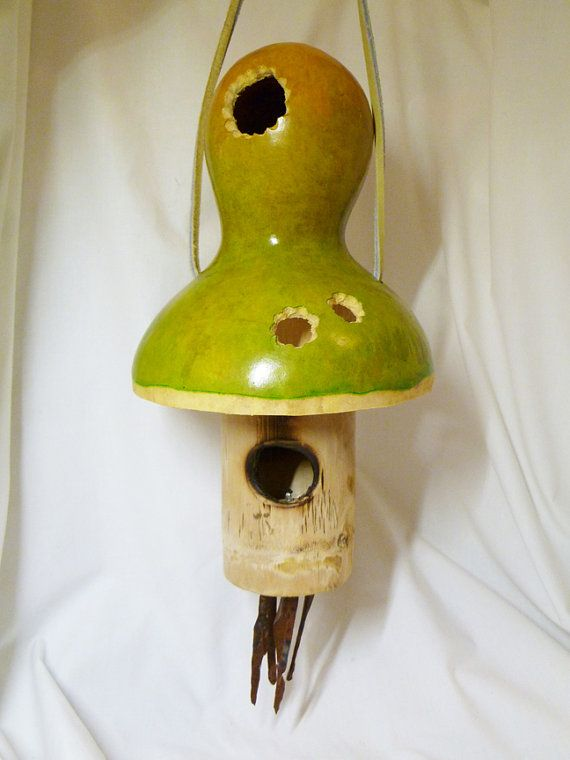 Obsidian Wind Chimes With Mushroom Birdhouse, Green And Yellow $30