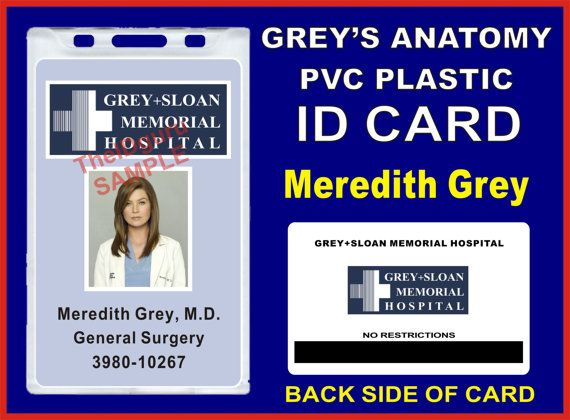 GreyS Anatomy Meredith GreyS Id Badge  Card Prop  Pvc